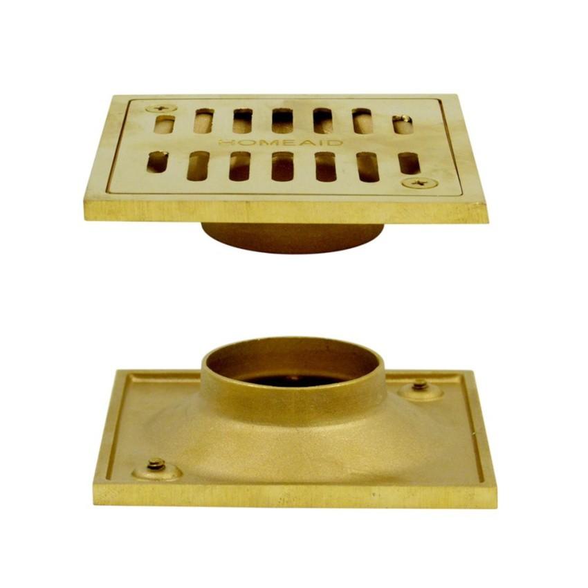 HOMEAID Brass Floor Drain 4 x 4 in