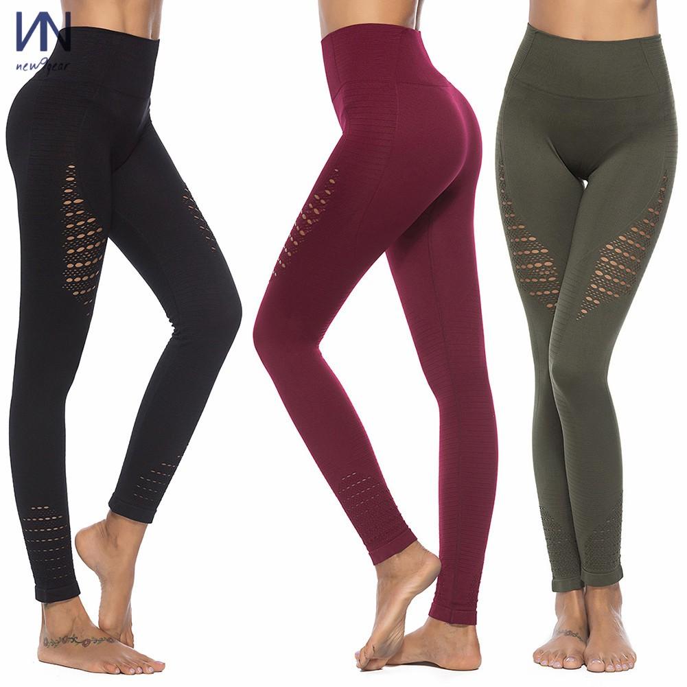 Women's High Waist Seamless Hollow Leggings Yoga Pants