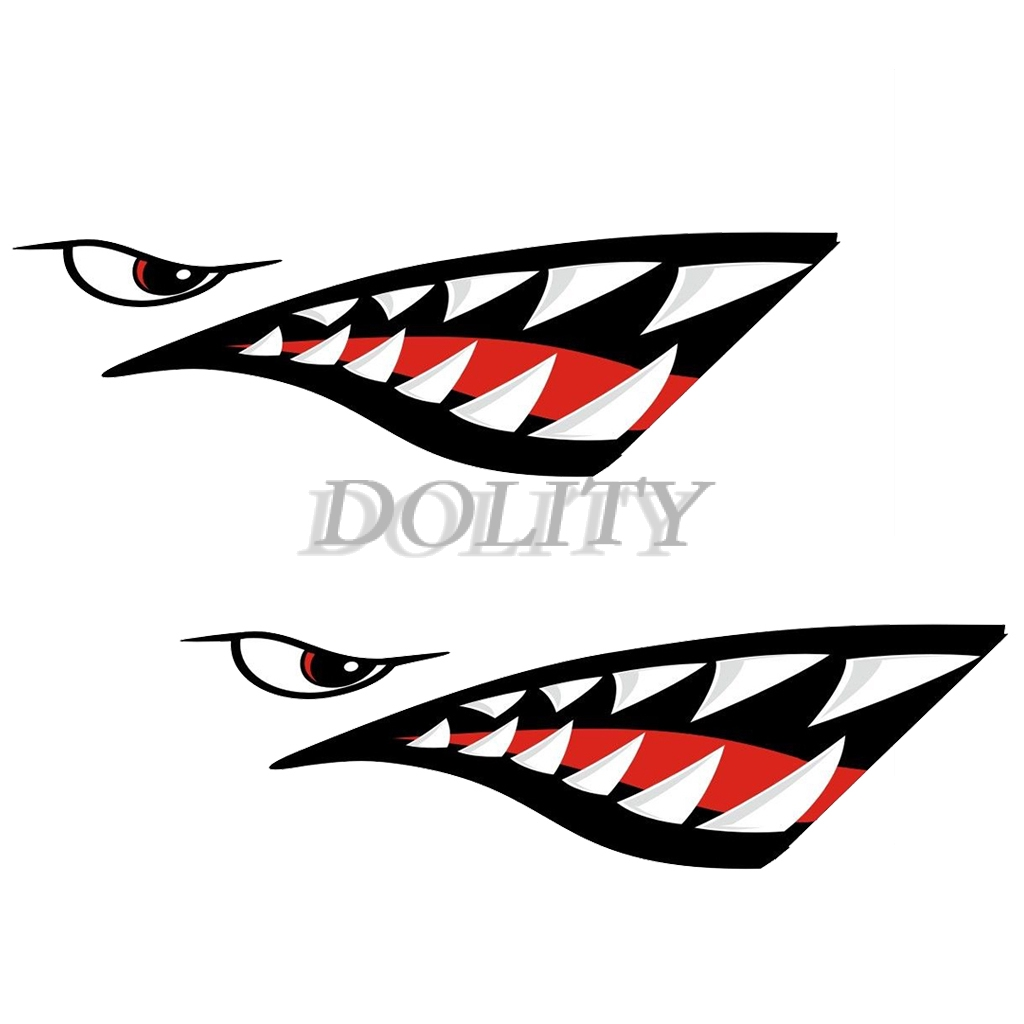 2PCS 59/'/' Size Shark Mouth Teeth Graphics Vinyl Sticker Decal Graphic Mouldings