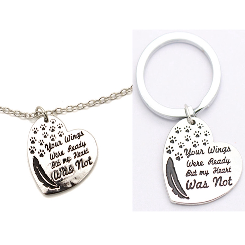 """Retro /""""your wings were ready but my heart was not/"""" Necklace Keychain S"""