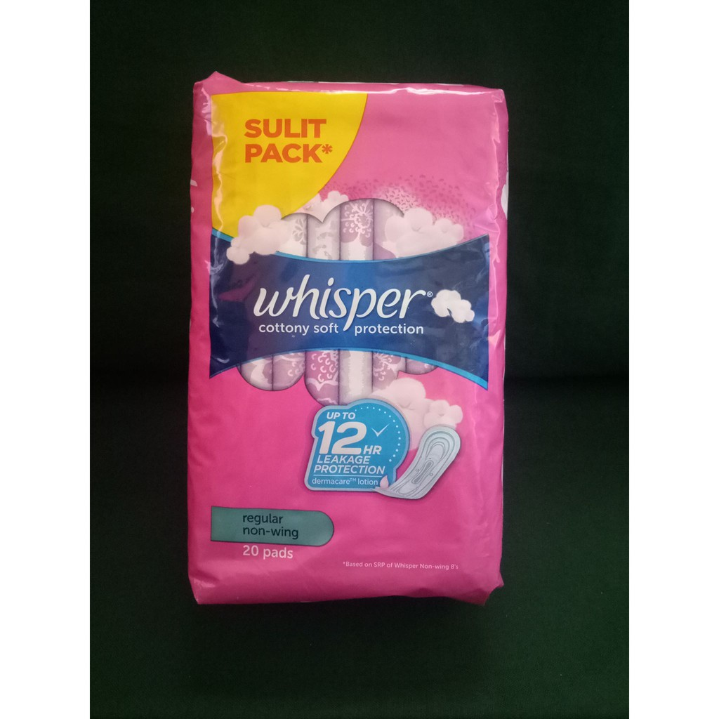 Whisper Sulit Pack Regular Non Wing 20 Pads Pink Shopee Philippines