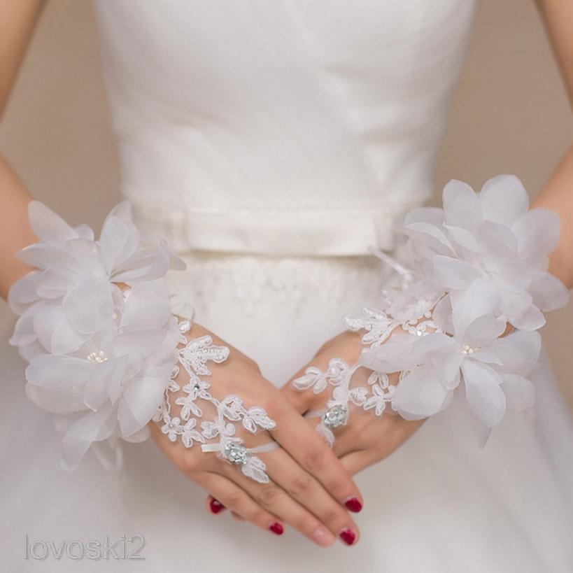 Bridal Wedding Rhinestone Short Paragraph Lace Fingerless Gloves