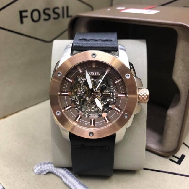 AUTHENTIC AUTOMATIC FOSSIL BLACK LEATHER WATCH