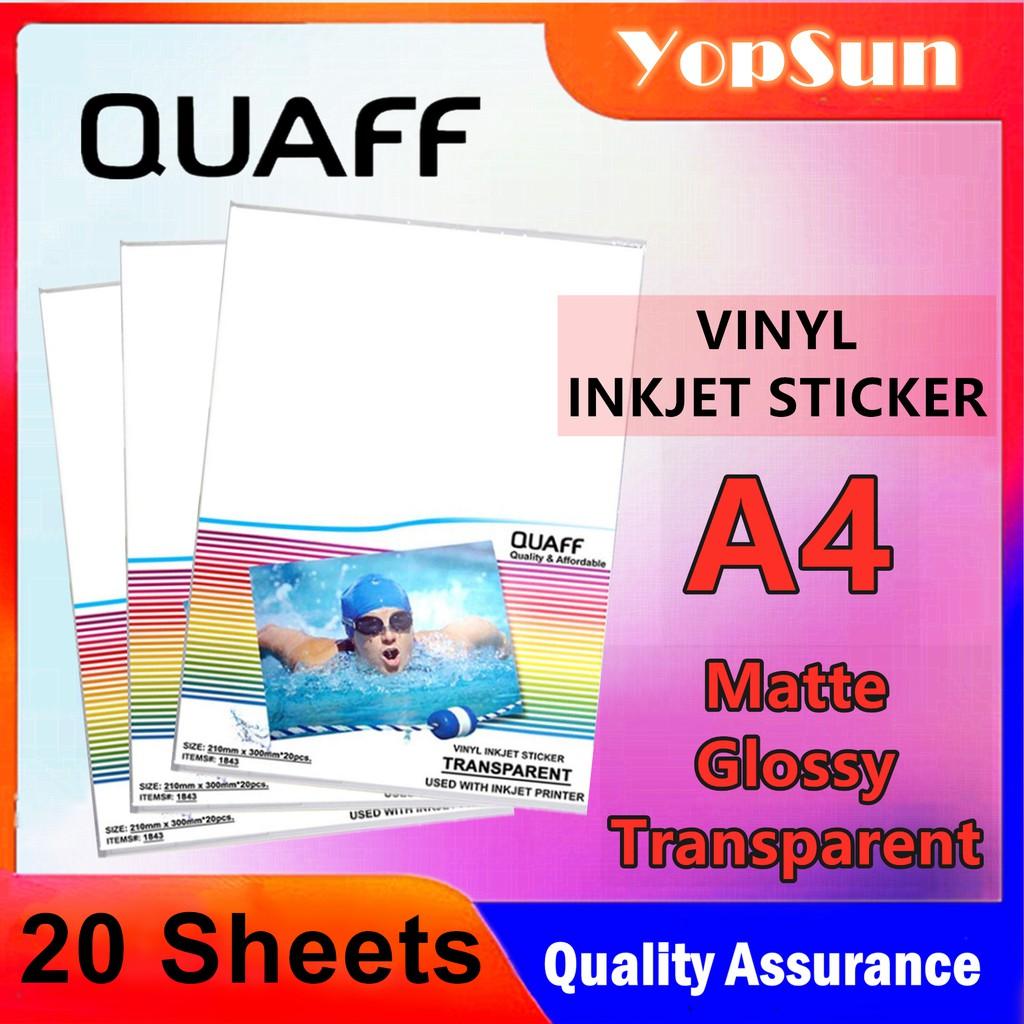 photograph regarding Transparent Printable Vinyl titled Quaff Vinyl Inkjet Sticker A4 Measurement(Shiny/Matte/Clear)
