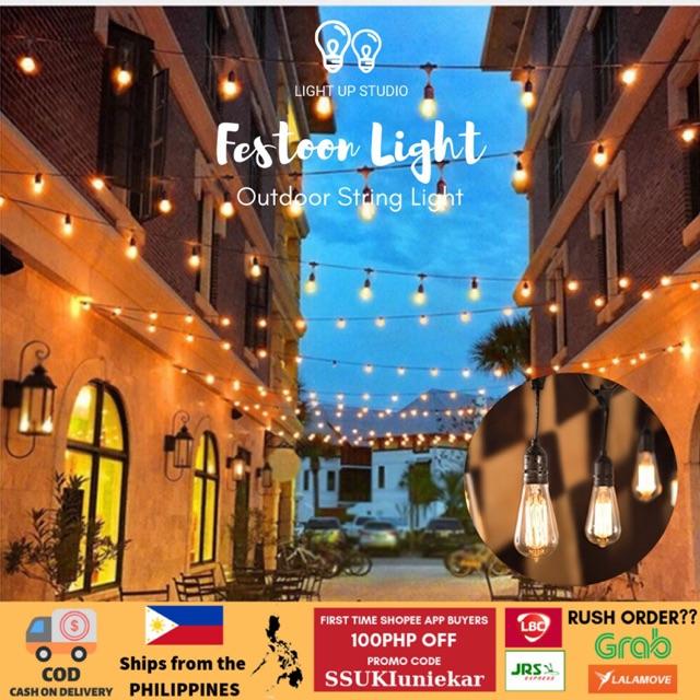 48 Ft Outdoor Bulb String Light Festoon