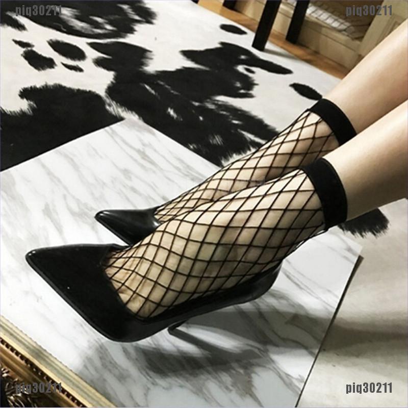 New Women Lady Black Fishnet Mesh Lace Ruffle Short Ankle Socks Stockings