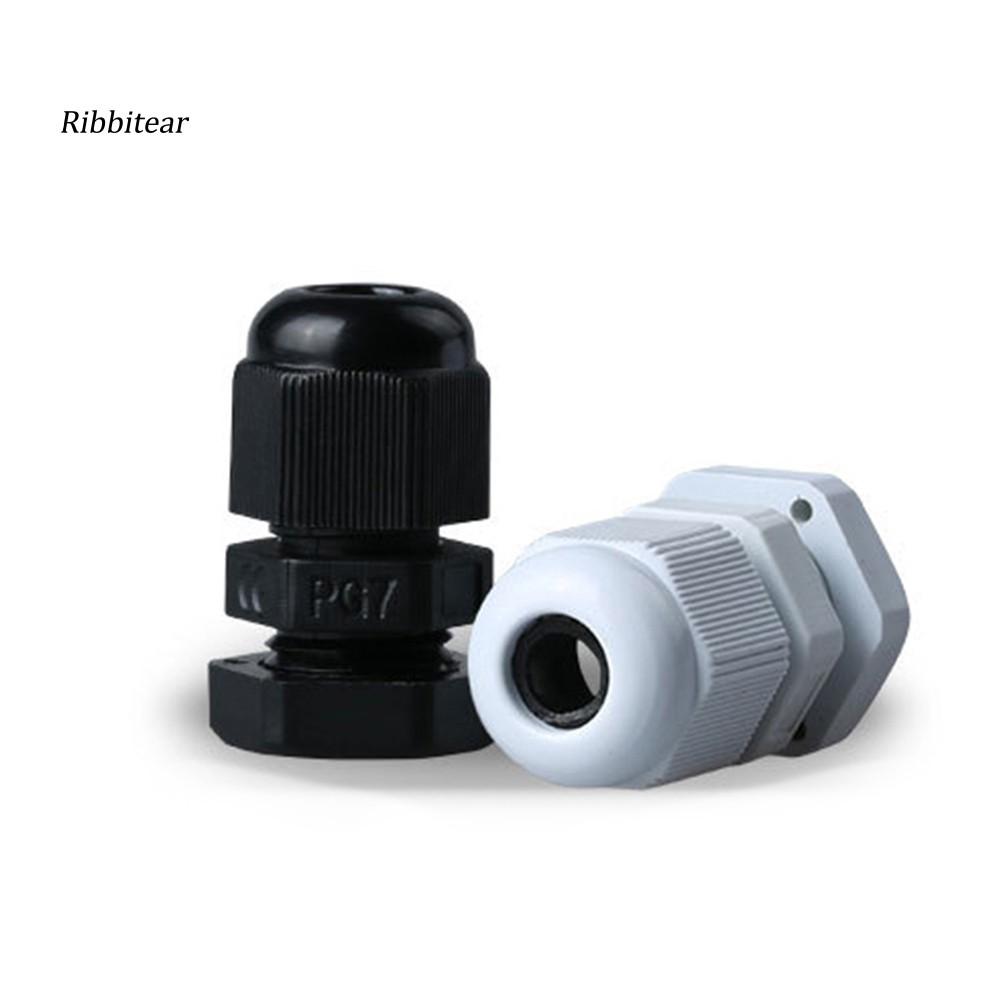 PG7 Black Plastic Waterproof Cable Glands Joints 10 Pcs New