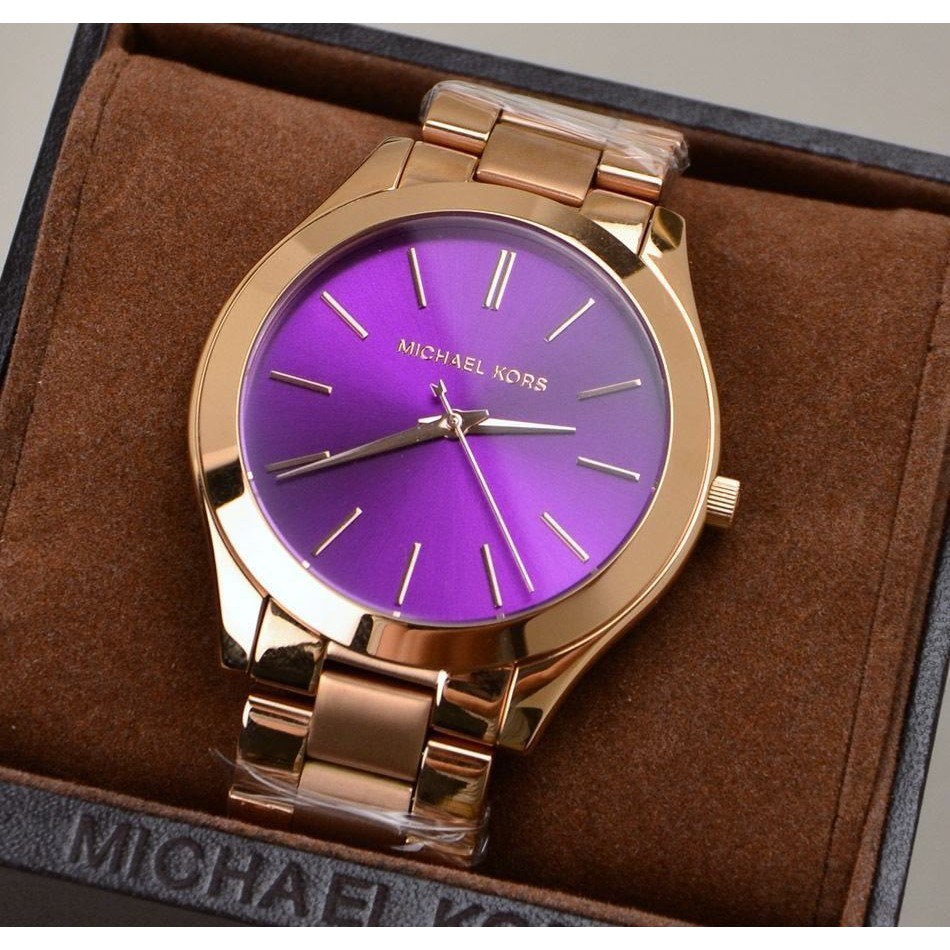 5251783e9393 MK WATCH Watch Stainless Steel Purple Dial Rose Gold mk3293