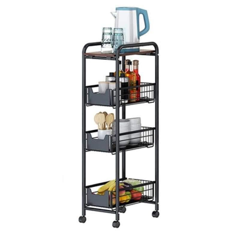 Onhand Coated Steel 4 Layer Gap Kitchen Storage Rack Slim Slide Movable Assemble Drawer Shopee Philippines