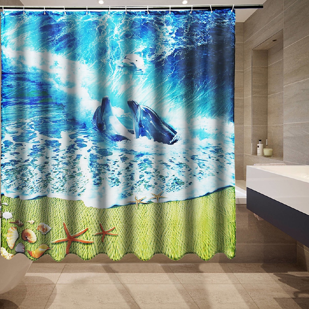 Bathroom Dolphin Sea Wave Beach Fabric Shower Curtain