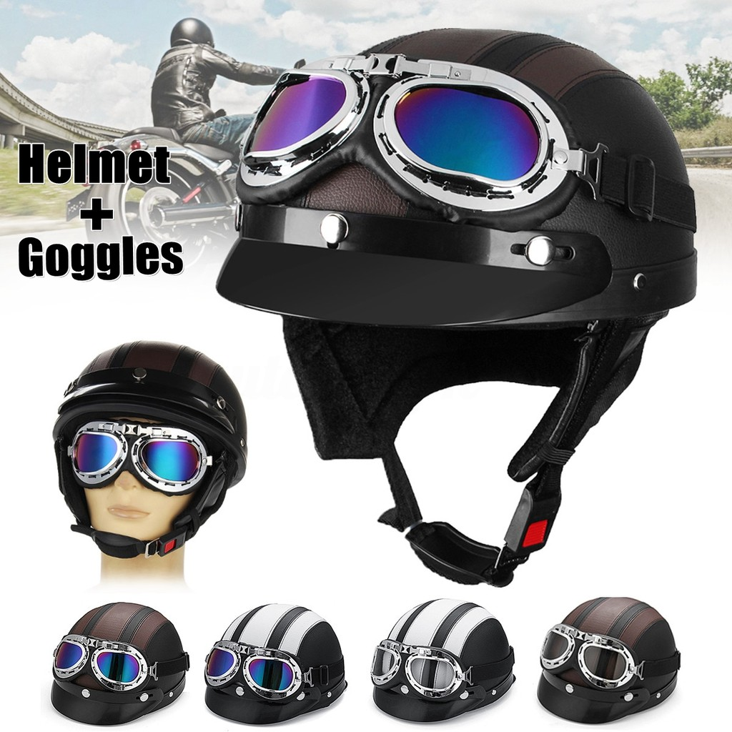 3baa9a70a5177 German Style Motorcycle Black PU Half Helmet Safety Goggles For Biker  Scooter