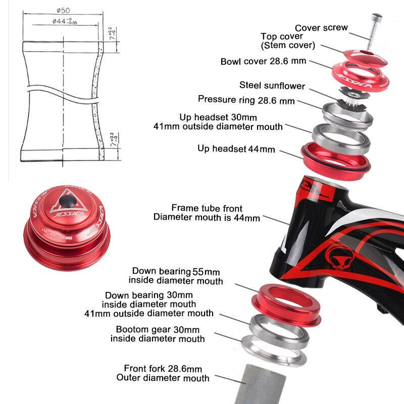 """Neco 1-1//8/"""" Headset Integrated for MTB Road Bikes Frame Steerer Tube Diameter"""