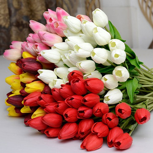 Sup Pretty Latex Real Touch Artificial Silk Tulip Flower Shopee