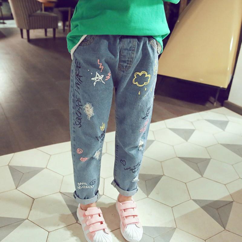 BOBORA Baby Girl Jeans Ripped Holes Elastic Waist Denim Trouser Pants 1-7Years
