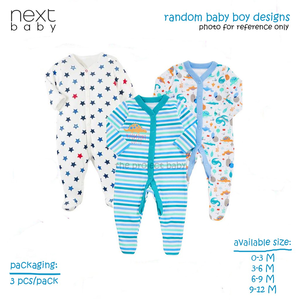 3pcs Next baby boy sleepsuit cotton overall sleepwear onesie frogsuit set