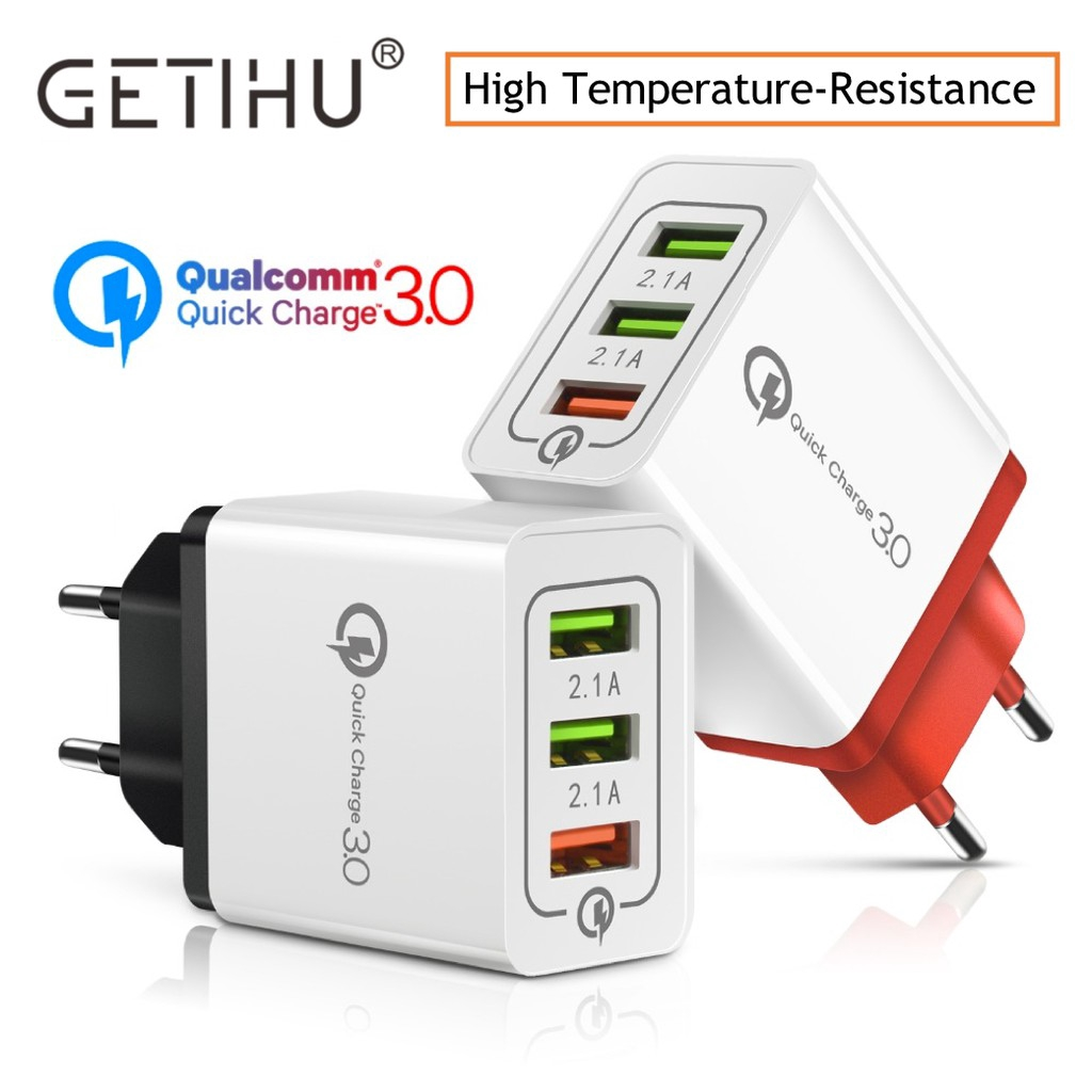 GETIHU Universal 3-Port USB Charger Quick Charge 3 0 Fast EU Plug Wall  Travel Adapter