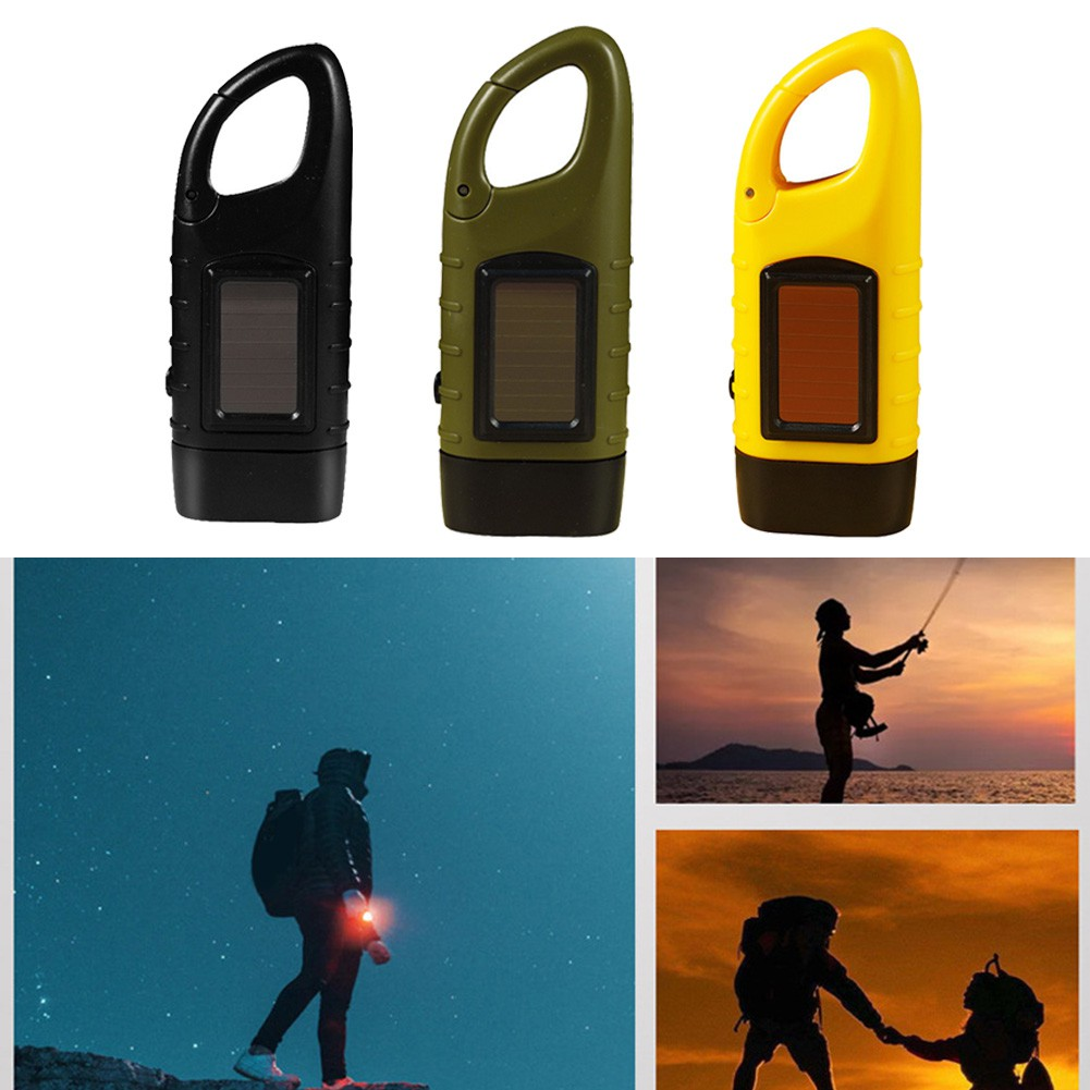 Details about  /Hand Crank Solar Flashlight Rechargeable Emergency LED Torch Carabiner Clip