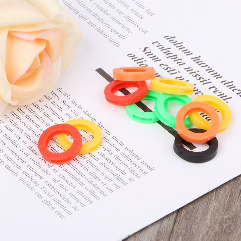 10Pcs Candy Color Hollow Silicone Key Cap Covers Topper Keyring Circle Holder NA