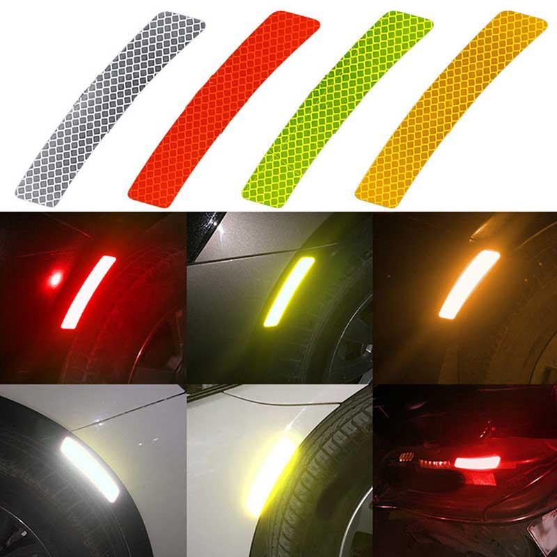 2pcs Set Reflector Stickers Safety Warning Strip Car Wheel