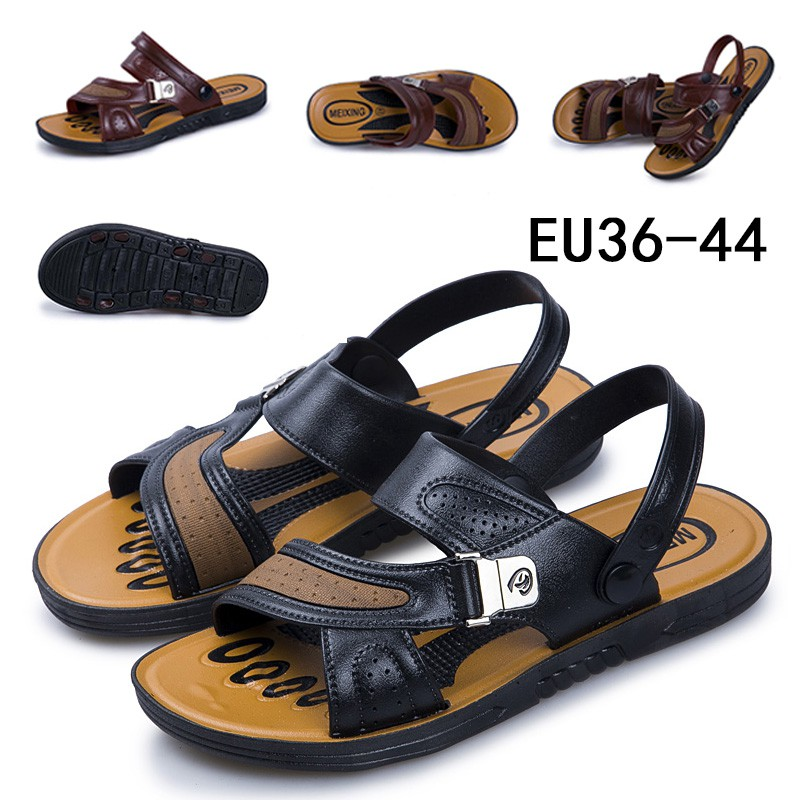 excellent.c Mens Fishermans Leather Open Toe Sandals Summer Beach Slippers