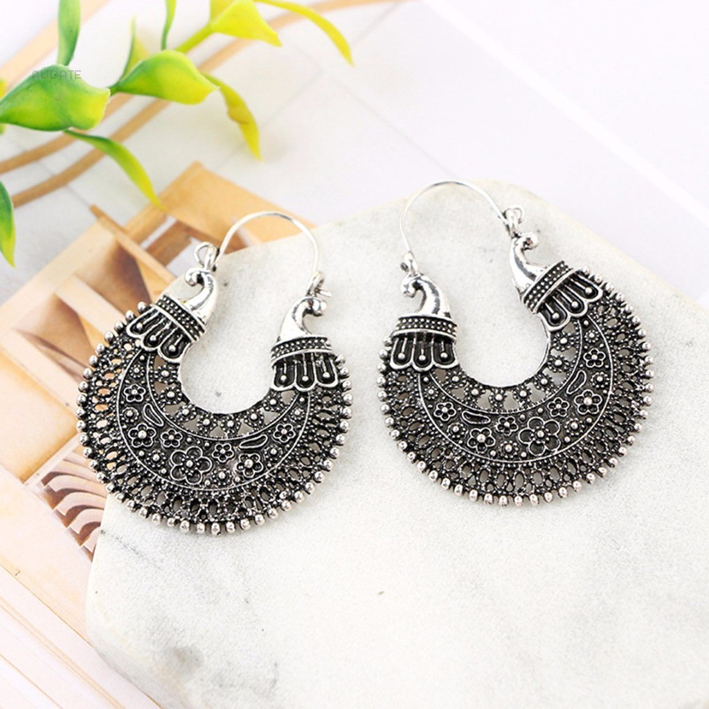ae5a1500d0 ✿Audate 1 Pair Womens Ethnic African Tribal Gypsy Antique Silver Carved  Hoop Earring