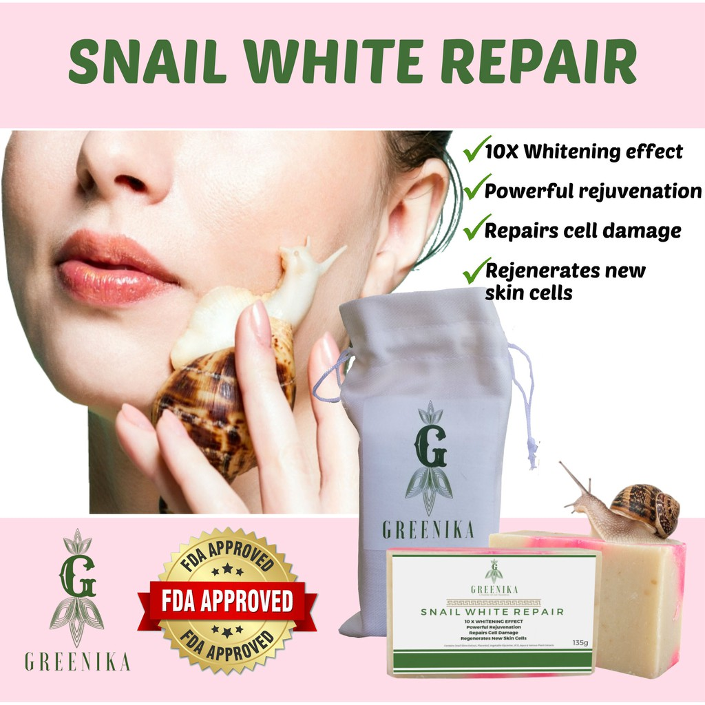 Greenika Snail White Repair Anti-Oxidant Soap 135g x 2 bars