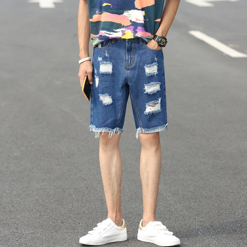 Mens Ripped Short Jeans Summer Cotton Pants Designer Jeans