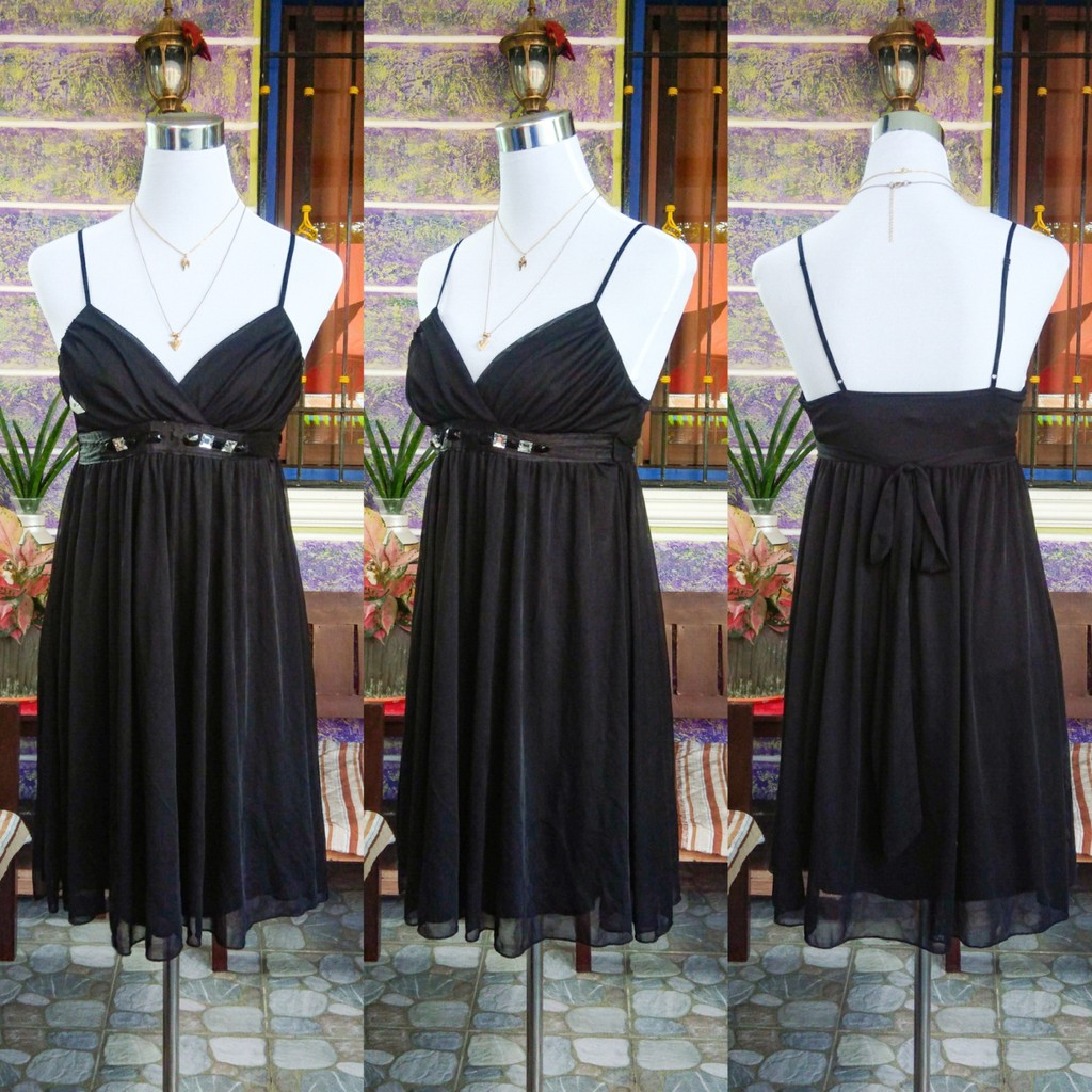 Black String Strap Formal Dress