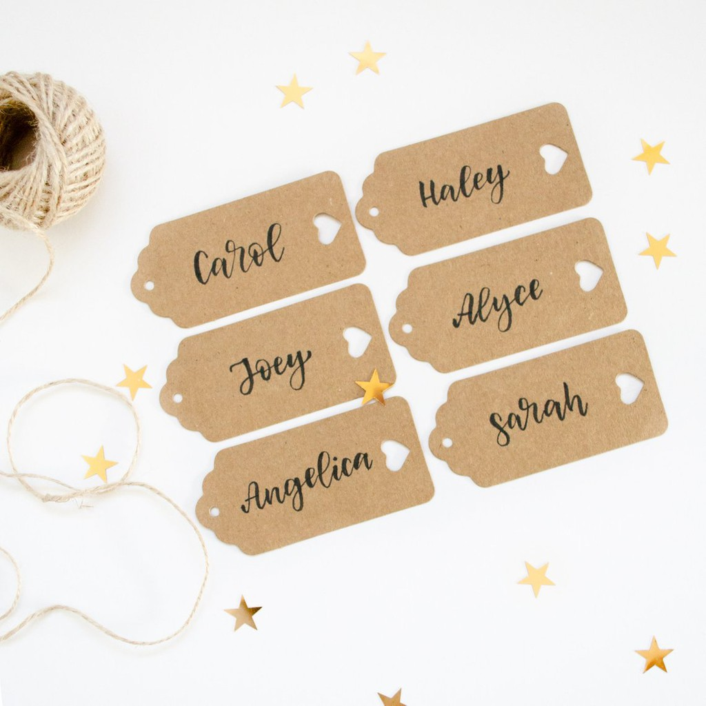 Personalized Name Tags Wedding Kraft Gift Cards