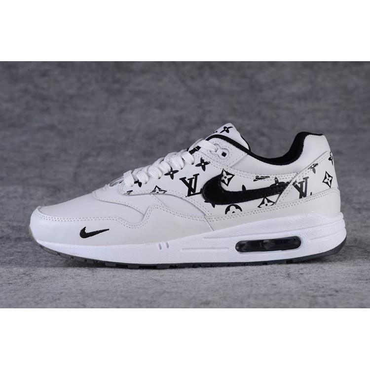 Original LV X Supreme X Nike Air Max 1 Sports Shoes Fashion Shoes White Black
