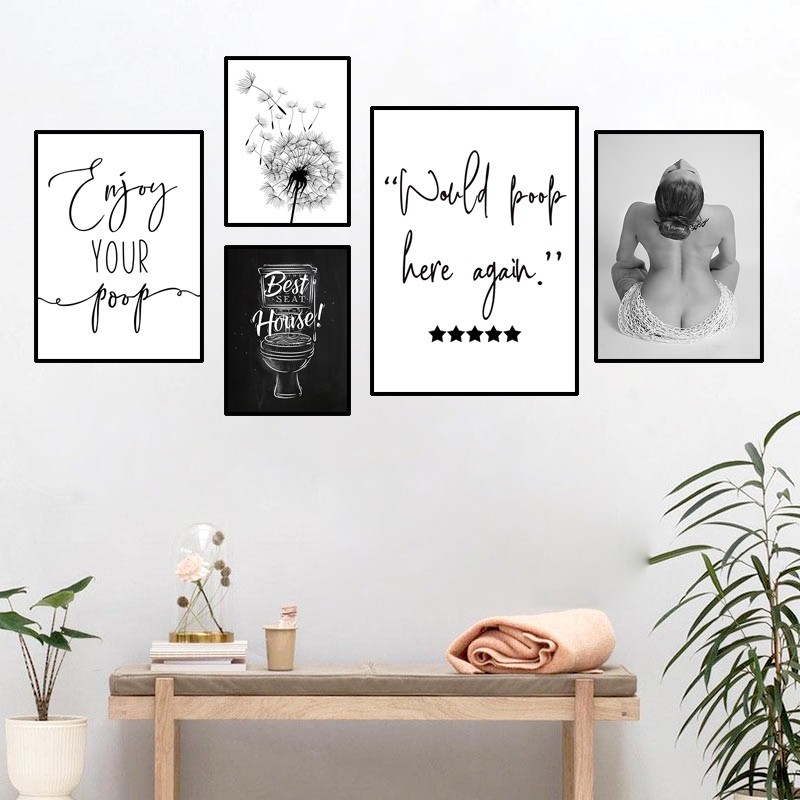 Would Poop Here Again Canvas Wall Art Toilet Poster Dandelion Black And White Prints Funny Quotes Bathroom Decor Hd2940 Shopee Philippines