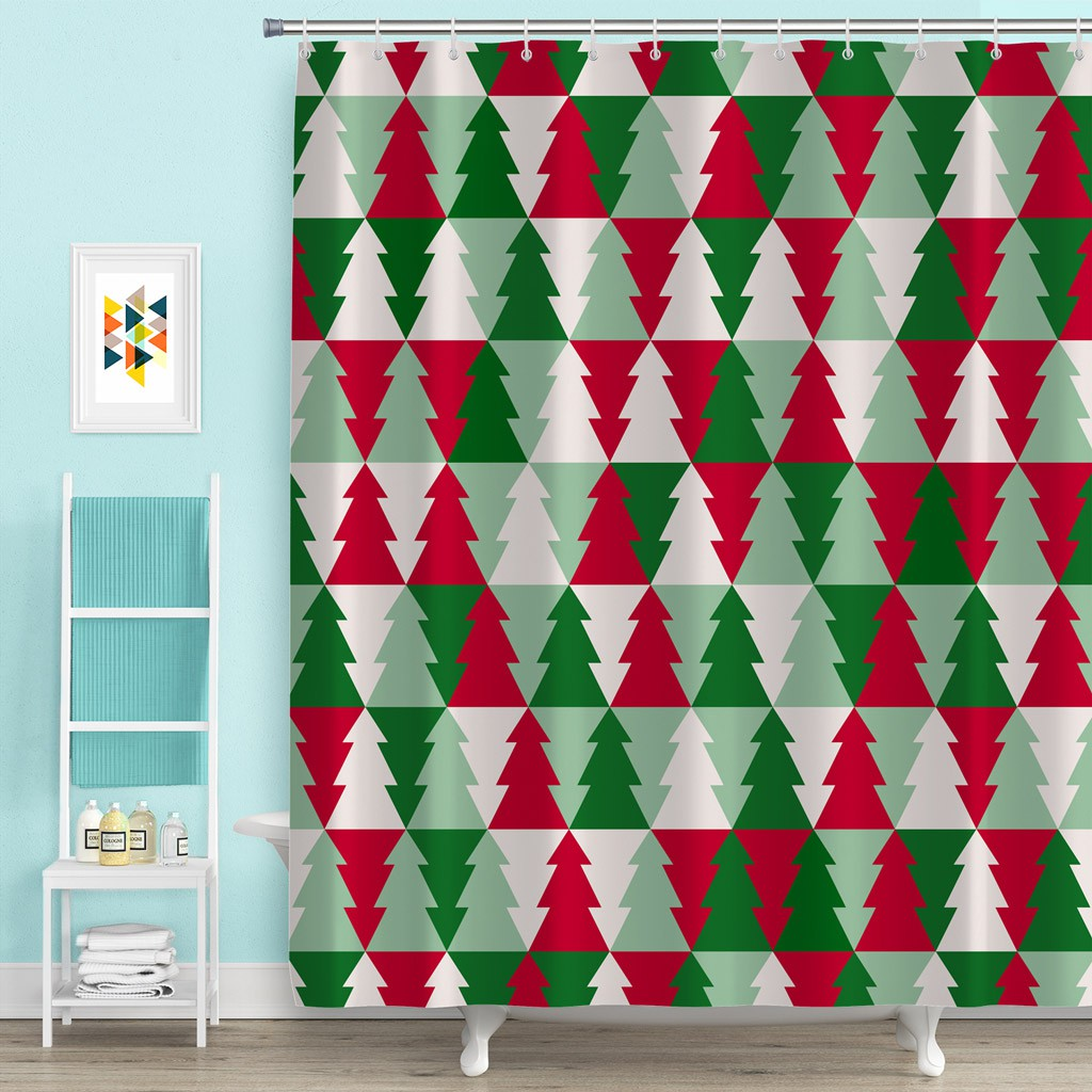Christmas Tree Polyester Bath Shower Curtain 12 Hooks