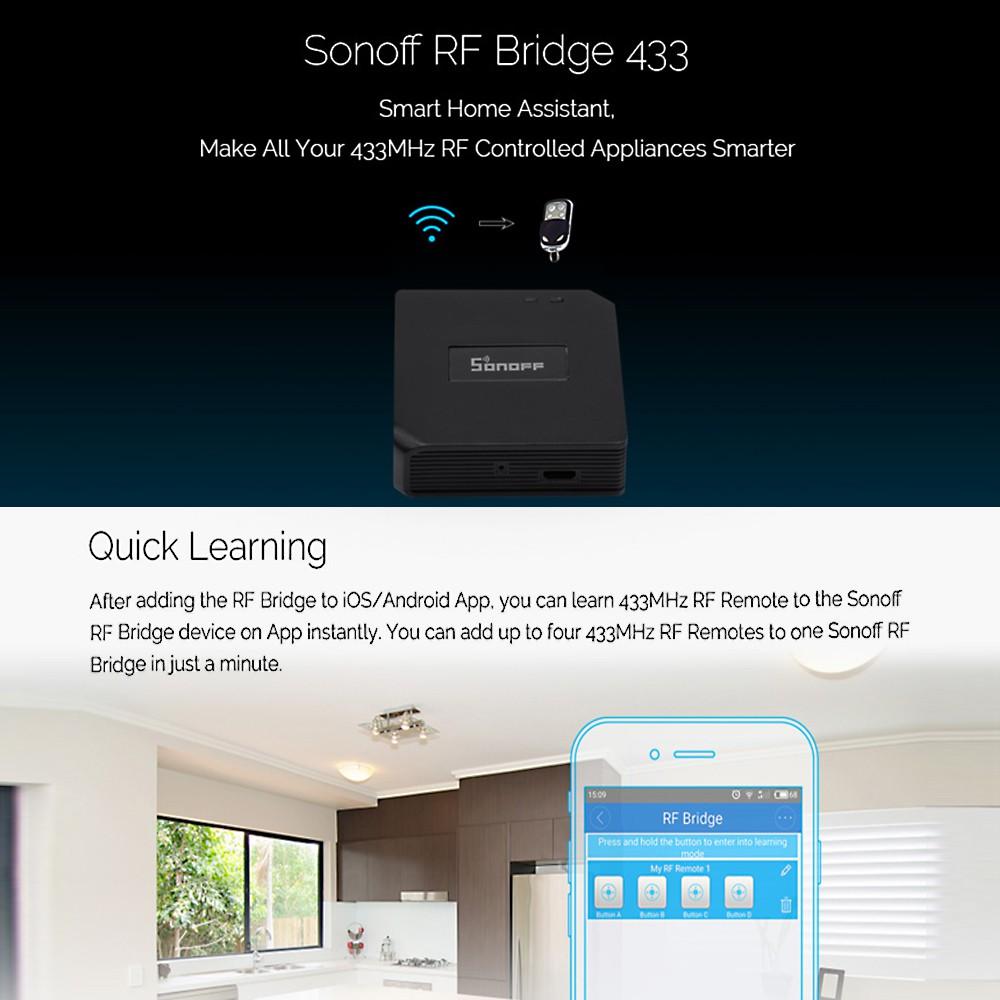 ◆Sonoff RF Bridge 433MHZ Wifi Wireless Intelligent Wi-Fi Remote RF  Controller Automation Module Swit