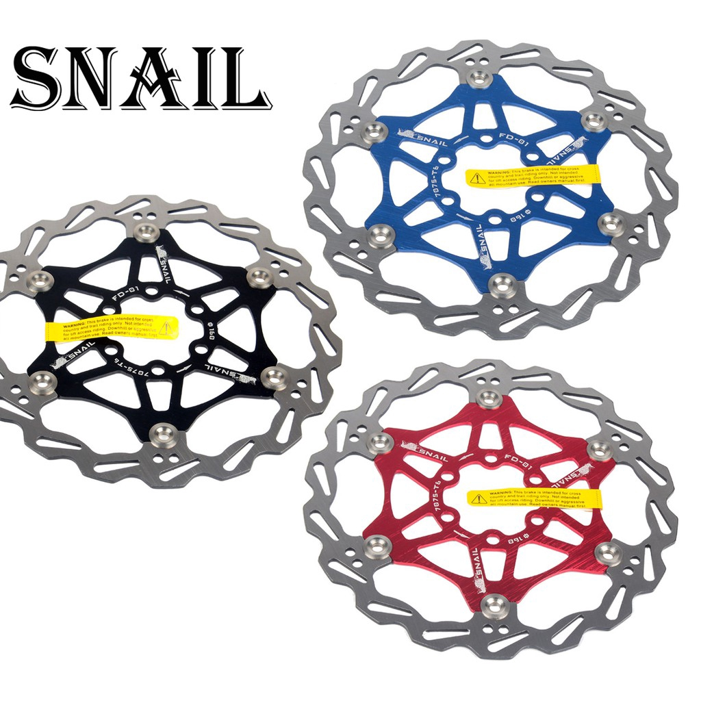 SNAIL Mountain Bike Floating Brake Rotor Bike Brake Disc 160//180mm Rotor 6 Bolts