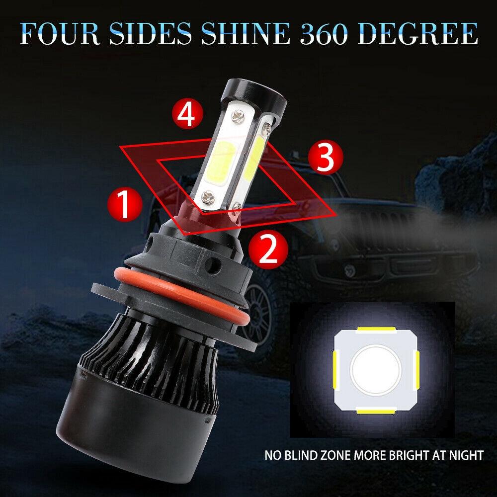 4-Sides H7 LED Headlight Bulb High Low Beam 360° 6000K 72W 16000LM Lamp Kit