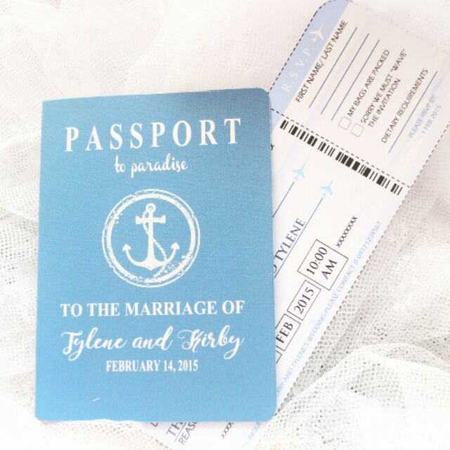 Passport Style Wedding Invite With Boarding Pass Rsvp Shopee