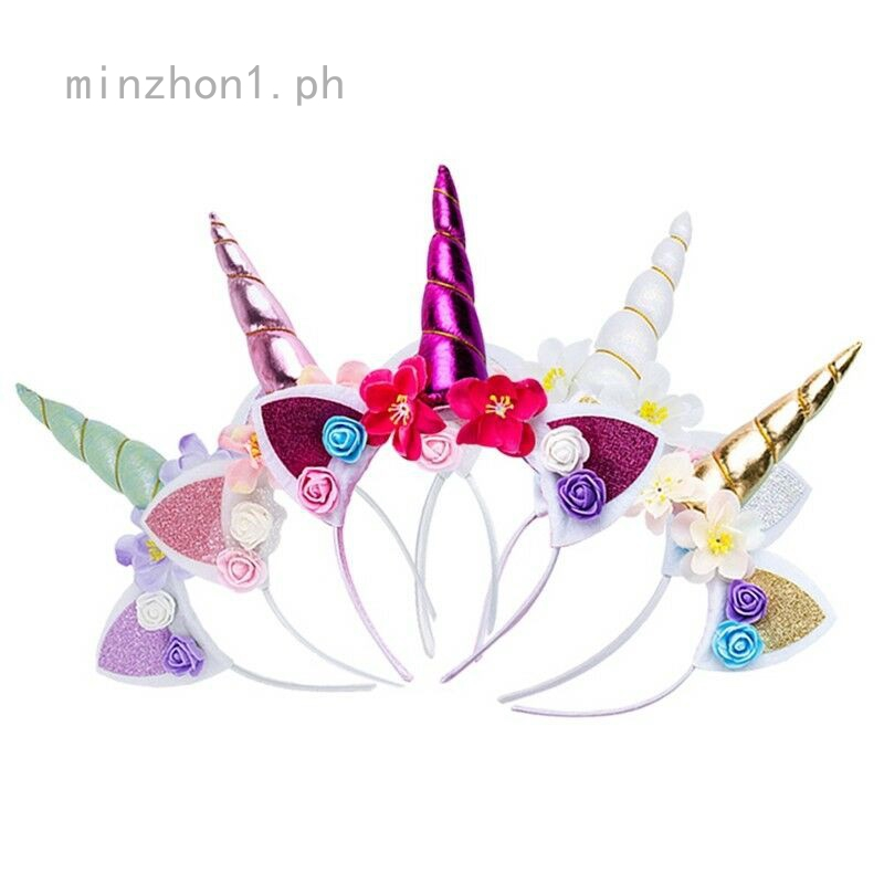 3Types Unicorn Horn Flower Headband Fancy Halloween Kids Adult Party  Item