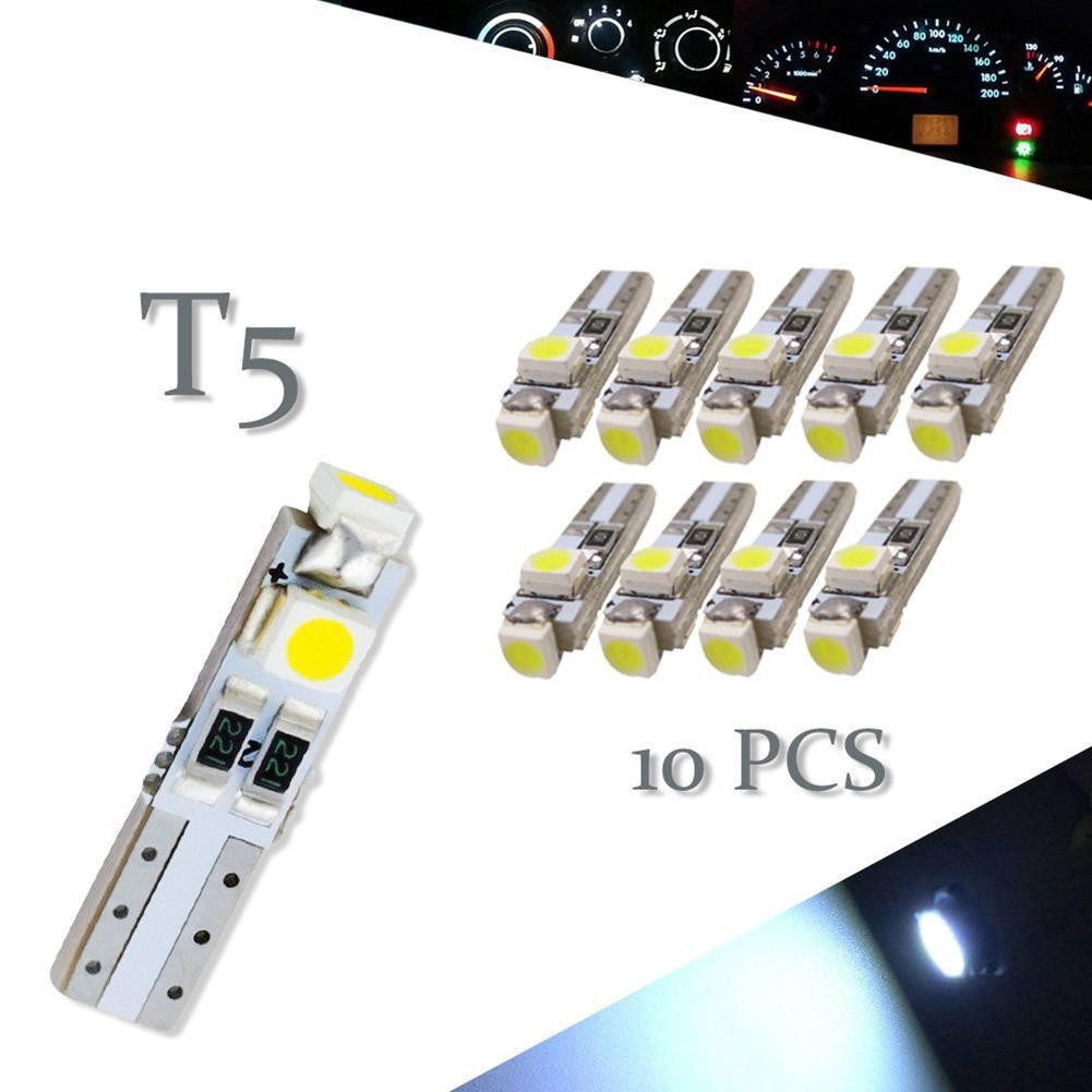 10x White T5 3SMD LED Instrument Dashboard Light Bulbs 17 18 27 37 58 70 73 74
