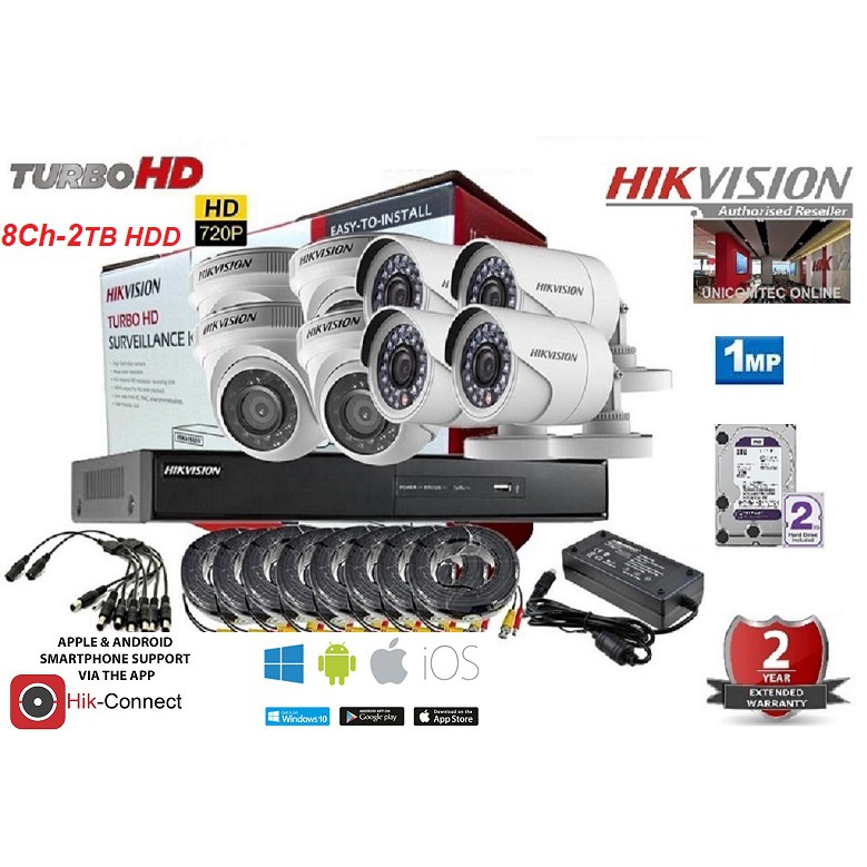 HIKVISION 8 CHANNEL 720P 1MP COMBO - 2TB Hard Disk Drive Included