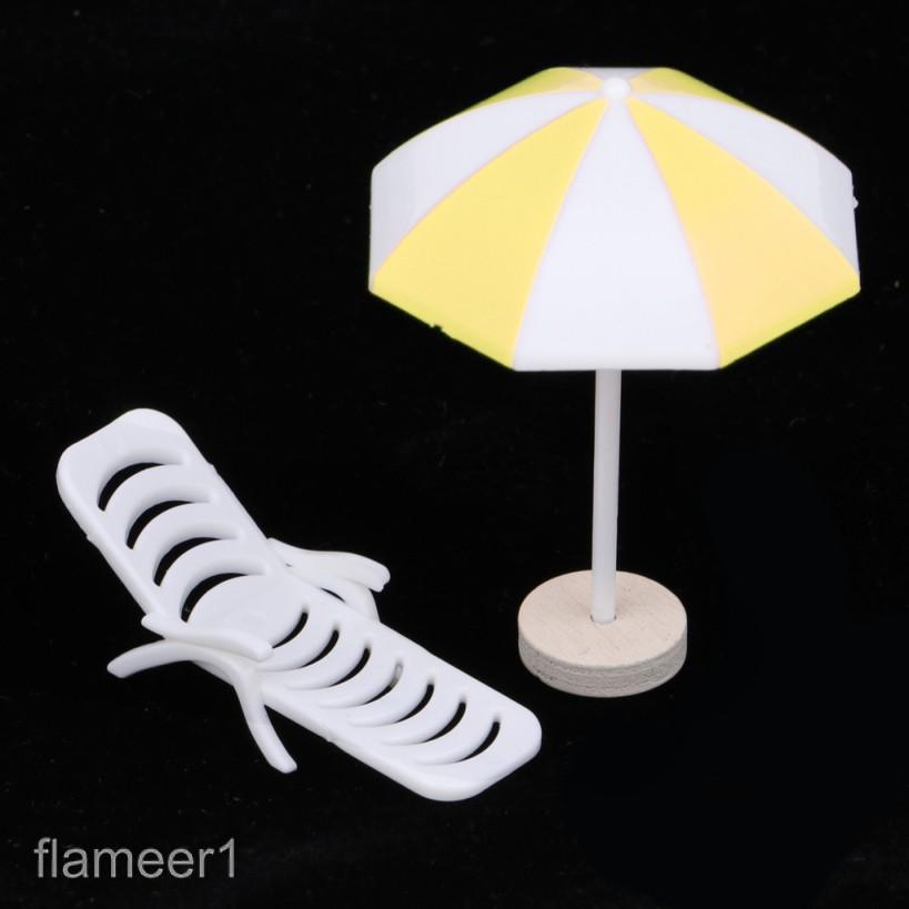 5 Set Miniature Beach Deck Chair Umbrella Model for Dollhouse Garden Decor