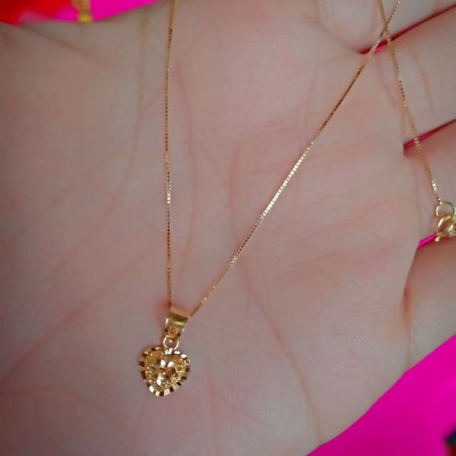 18k Saudi Gold Necklace With Heart Pendant Shopee Philippines