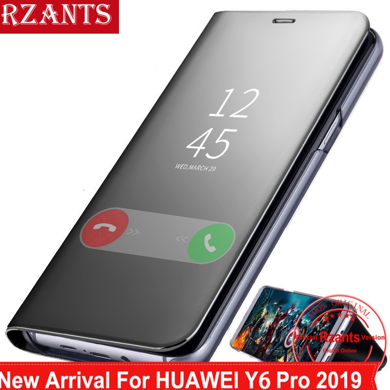 Huawei Y6 Pro 2019 Case Clear View Mirror Flip Stand Cover
