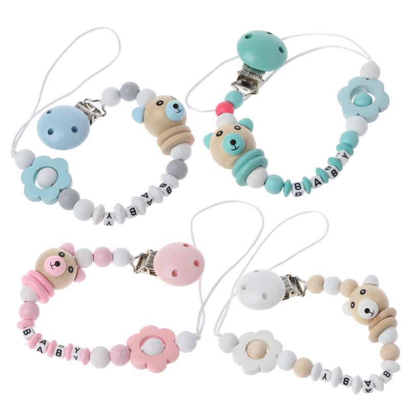 Cute Baby Cotton Pacifier Soother Baby Dummy Clip Holder