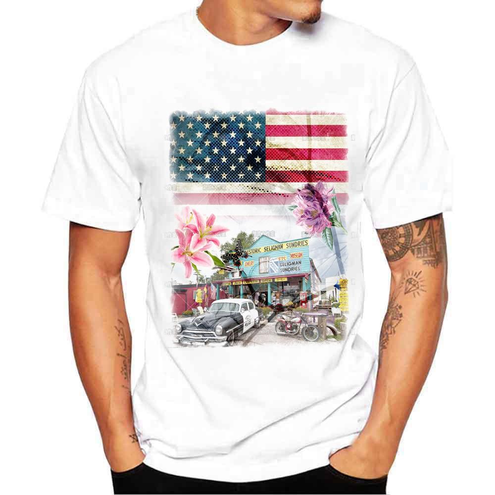 56d426dc664181 Men Boy Plus Size Print Tees Short Sleeve Cotton T Shirt Blouse Tops ...