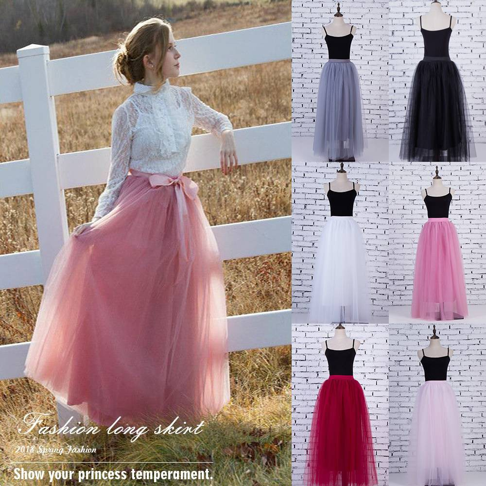 fafe683307 Womens Lace Princess Fairy Style 4 layers Long Tutu Skirts | Shopee  Philippines