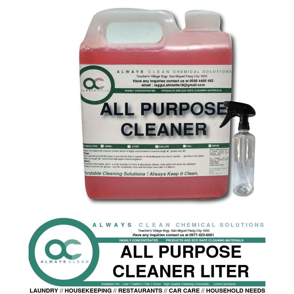 ALL PURPOSE CLEANER LITER ALWAYS CLEAN WITH SPRAY BOTTLE