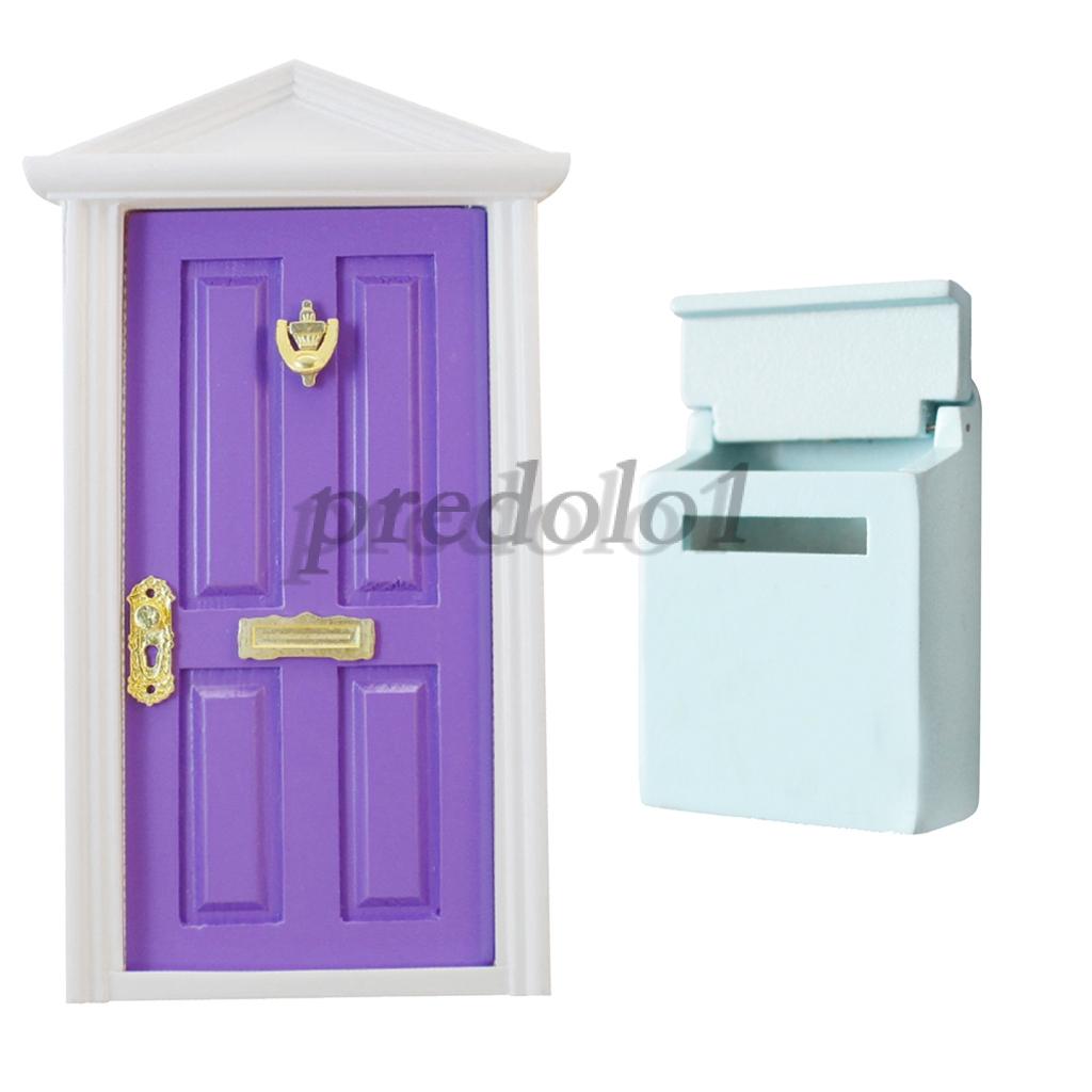 Dollhouse Miniature Wooden Mail Box 1//12 Scale Purple