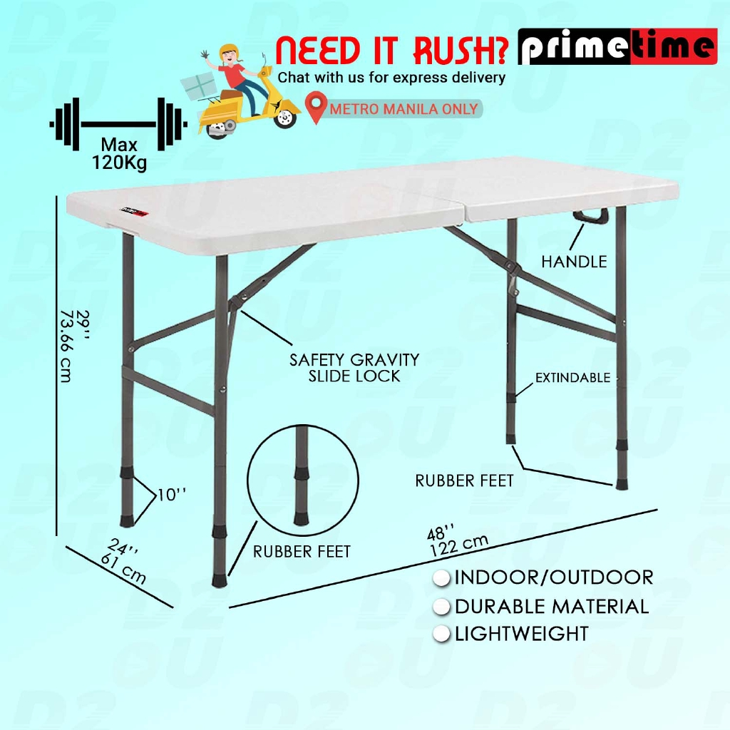 Primetime 4 Ft Rect Fold In Half Dual Height Plastic Table White