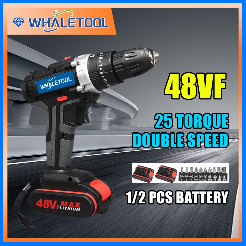 Hot Sale 48v Electric Drill Rechargeable Cordless Drill 1 2 Battery Led 28pc Accessories Shopee Philippines