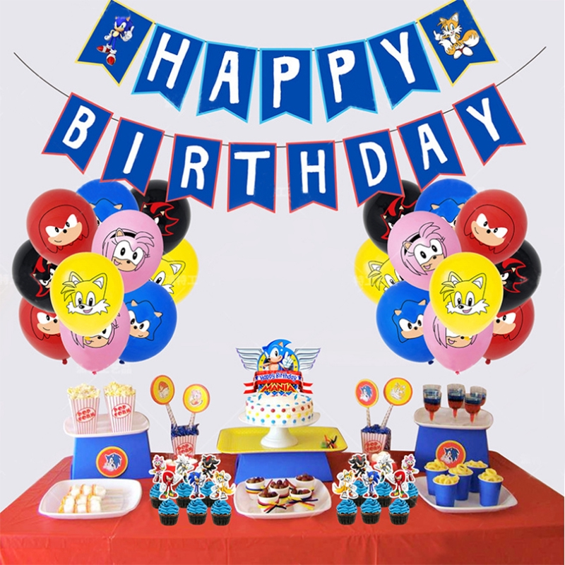 Sonic The Hedgehog Theme Birthday Party Supplies Banner Ballons Cake Decorations Party Kit For Children Shopee Philippines